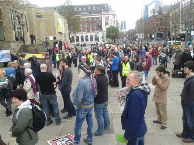 The crowd gather for Leeds May Day