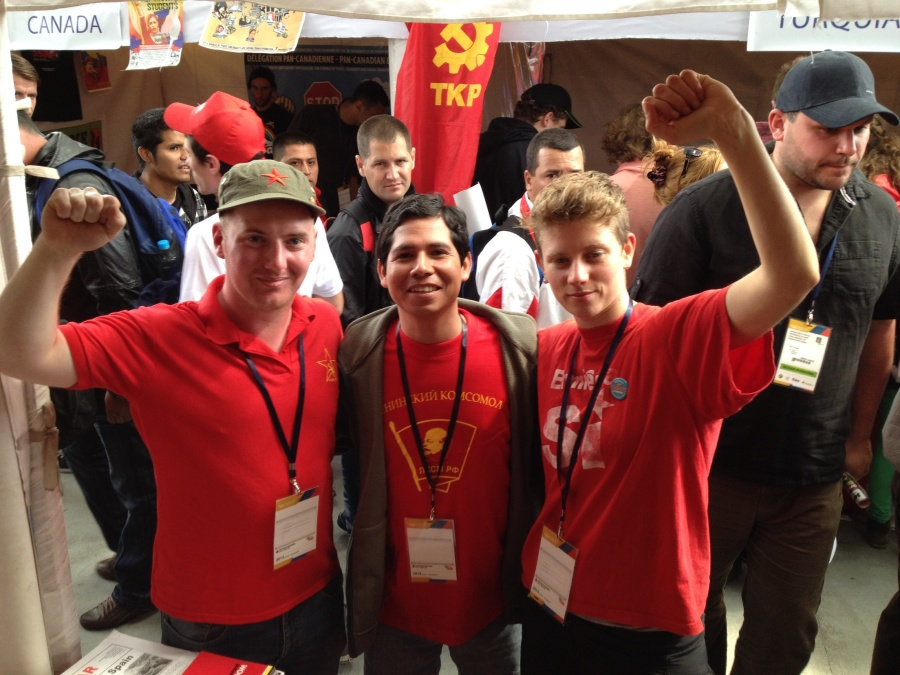 Delegates from across Latin America socialising with comrades from around the world