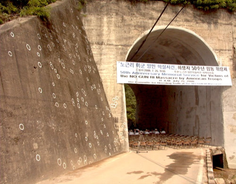 """After the initial attack, the refugees fled into a culvert and a tunnel beneath the bridge. US forces set up machine guns at either end of the culvert and tunnel. For over three entire days the machine gunners killed those who tried to leave, killing, according to the TRCK, an additional 300:xxvii """"'There was a lieutenant screaming like a madman, fire on everything, kill 'em all,' recalls 7th Cavalry veteran Joe Jackman. 'I didn't know if they were soldiers or what. Kids, there was kids out there, it didn't matter what it was, eight to 80, blind, crippled or crazy, they shot 'em all.'""""xxviii Soldiers with small arms would, as time passed, approach the culvert to pick off any survivors. A survivor, 12 at the time, said: """"The American soldiers played with our lives like boys playing with flies.""""xxix Bruce Cumings believes that there was a concerted effort to ensure that there were no surviving witnesses."""