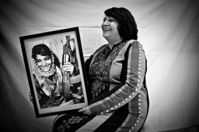 Leila Khaled with portrait