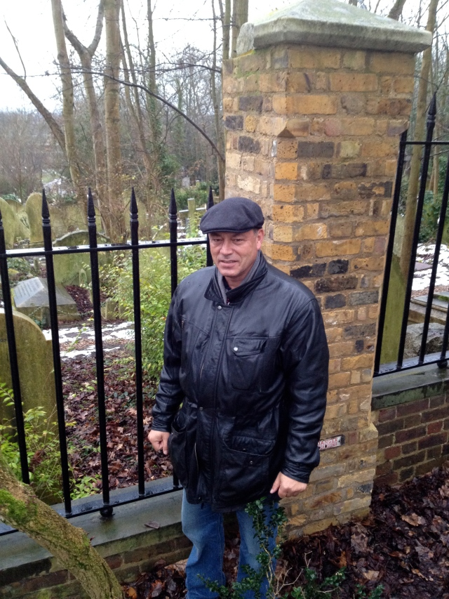 Khwesie pays a visit to Marx's Grave at Highgate cemetry, in London