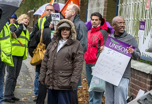 NHS workers' Strike, Monday 13 October, pickets at City Hospital Birmingham