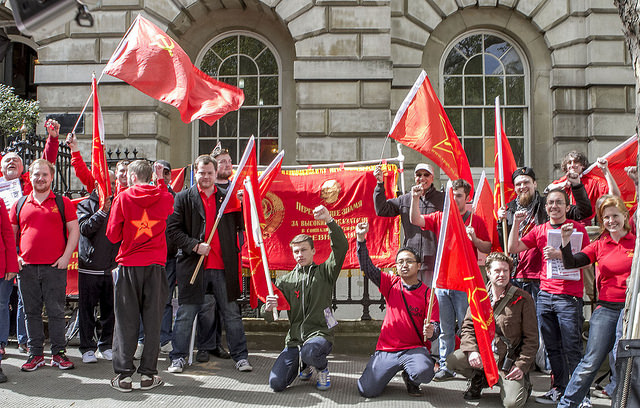 Red Youth and CPGB-ML members gather before the May Day march, 1 May 2015
