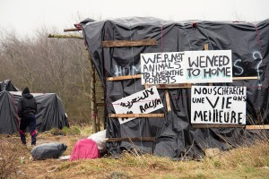 Part of the camp of the refugees and migrants near Calais
