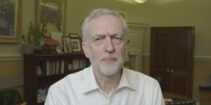 Corbyn appeared in a video message to the gathered demonstrators in Trafalgar Square