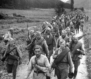 Soviet troops marching in Korea